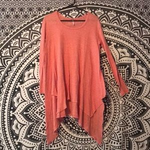 Free people long sleeve coral top - size small